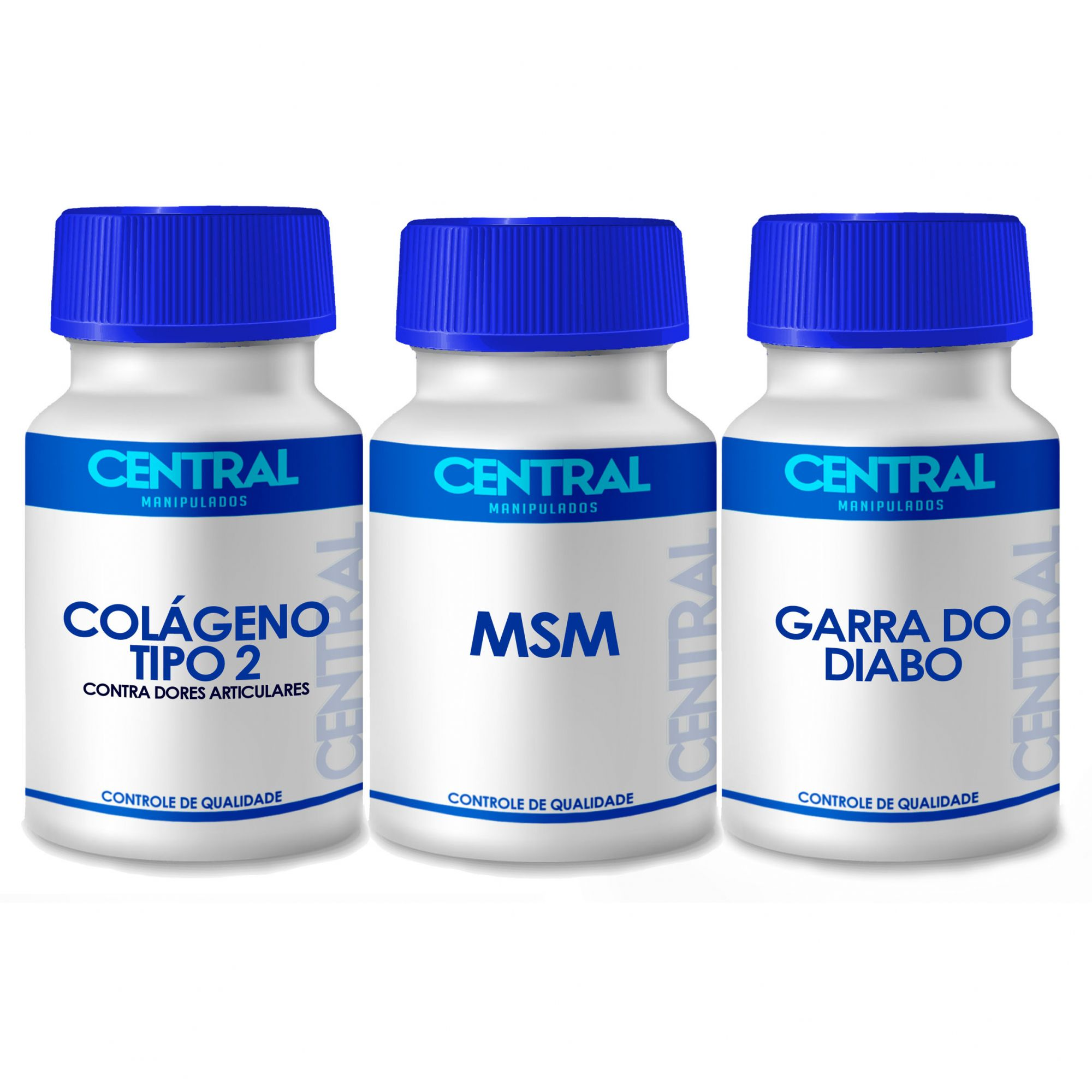 KIT Colágeno tipo 2 40mg 60 cáps + MSM 500mg 60 cáps + Garra do Diabo 400mg 60 cáps