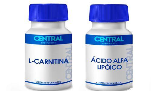 KIT  L Carnitina 500mg + Ácido Alfa Lipoico 100mg 60 cápsulas