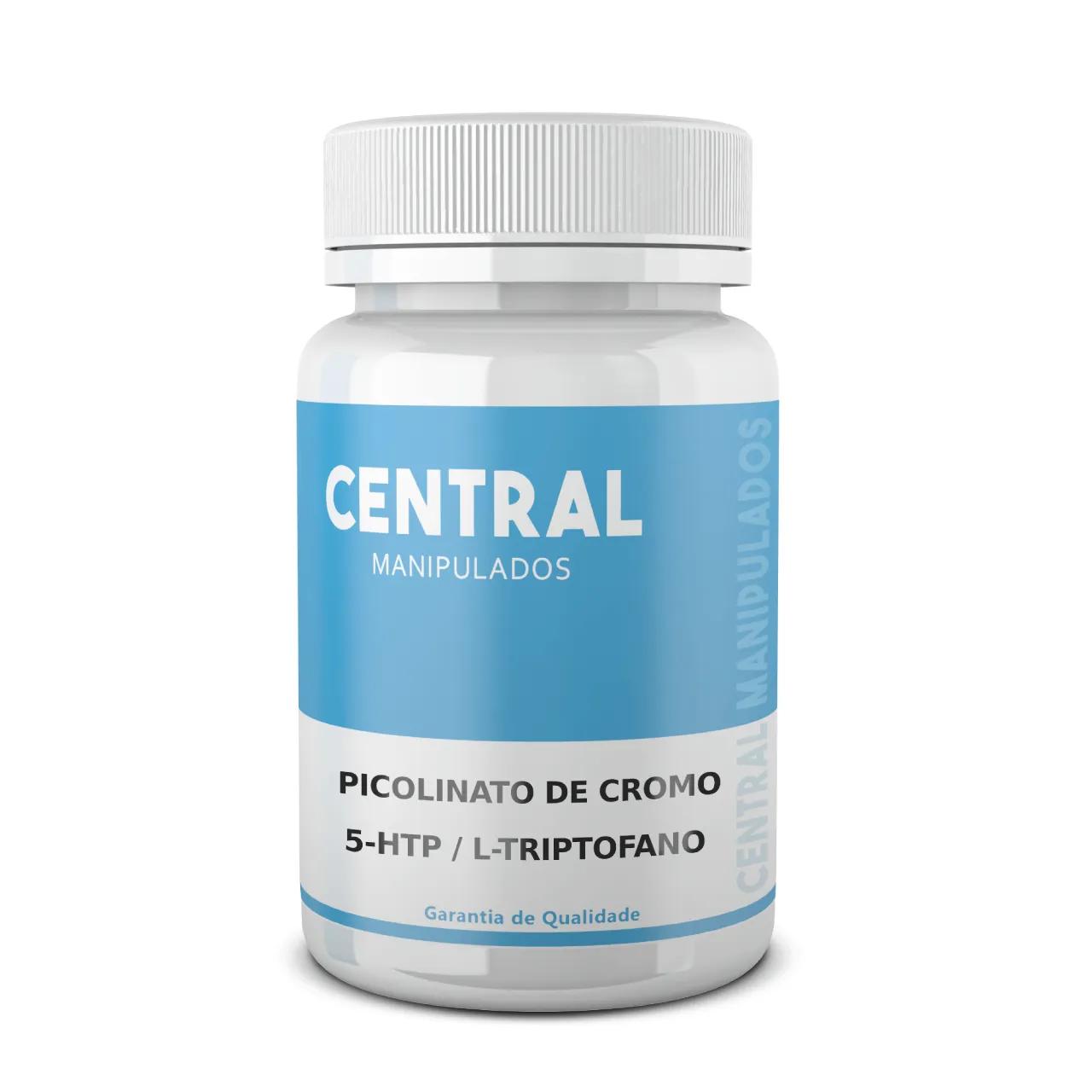 Picolinato de cromo 350mcg + 5 HTP 50mg +  L Triptofano 300mg - 60 cápsulas