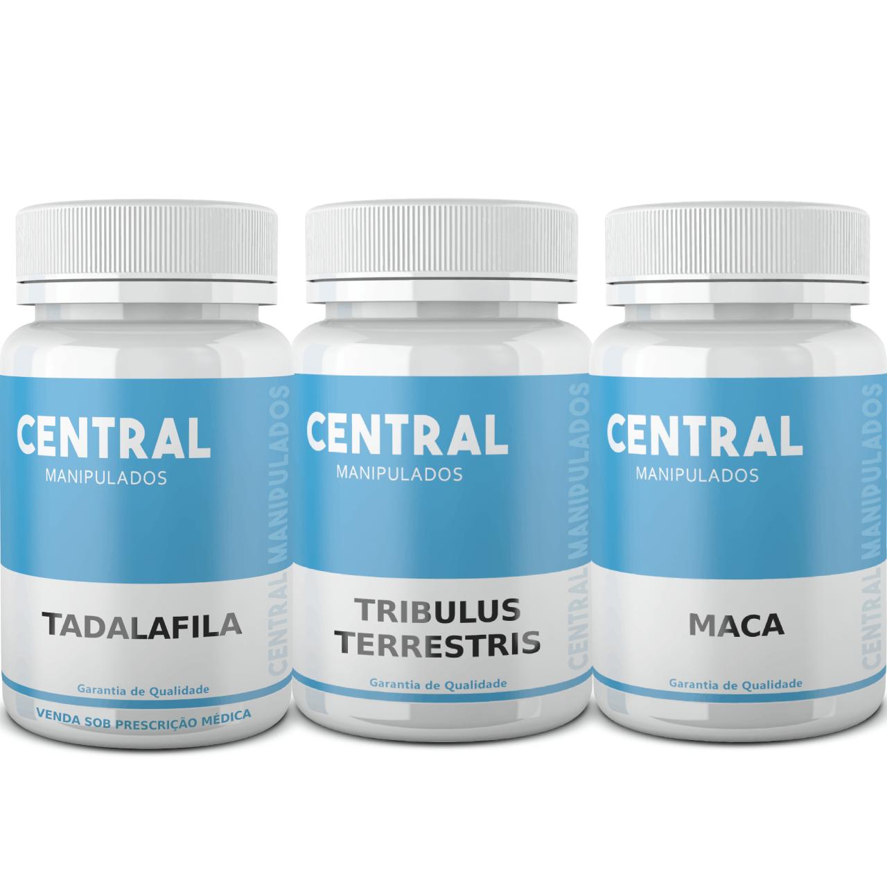 Tadalafila 5mg 60 cáps. + Tribullus Terrestris 500mg 60 cáps. + Maca Peruana 500mg 60 cáps. - Total 180 cápsulas