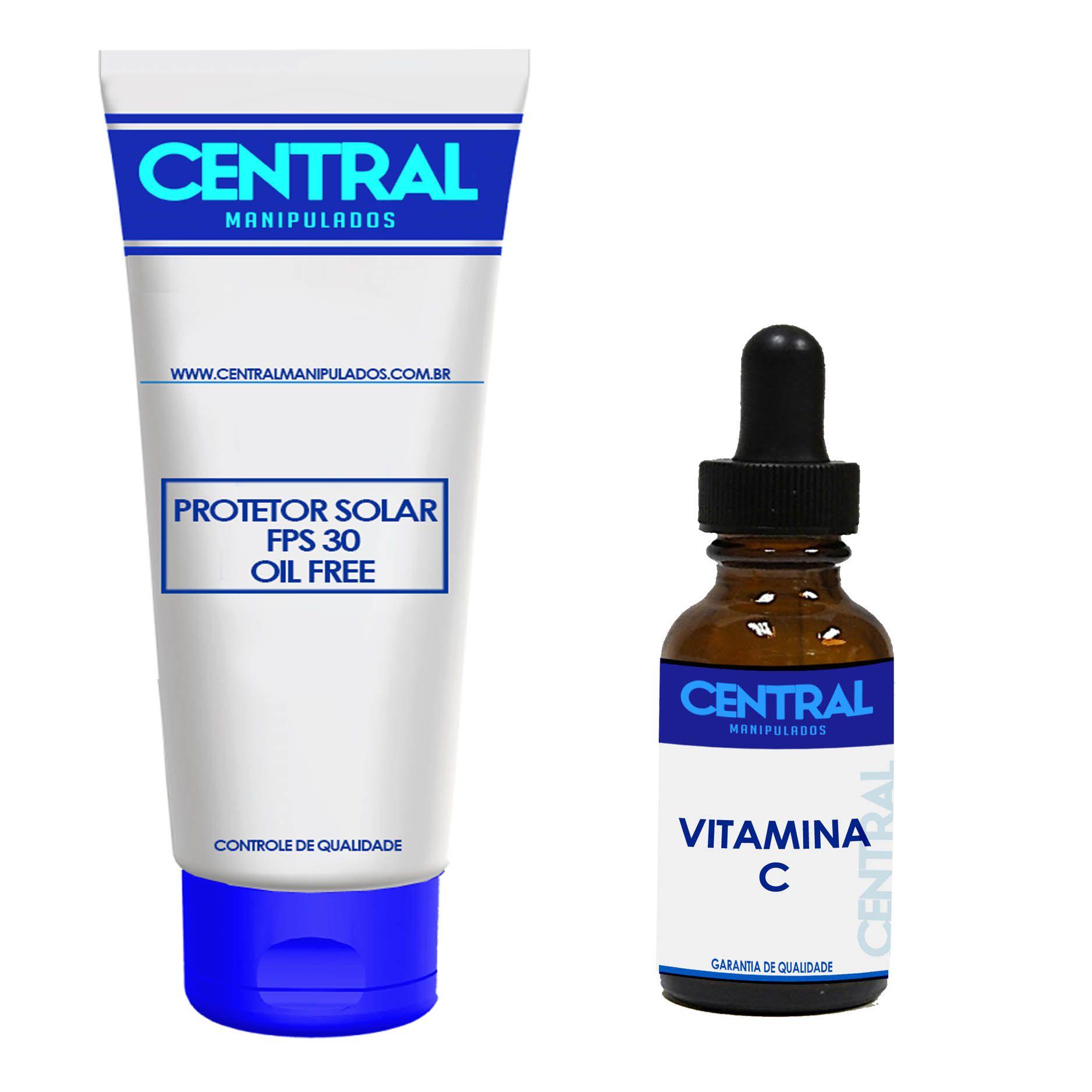 KIT Sérum Vitamina C puro 30 ml + Protetor Solar FPSS 30 Oil Free - Toque Seco 60gramas