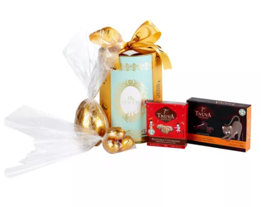 Lata Presente Páscoa com Chocolates Tnuva
