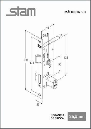 Fechadura Externa Porta de Ferro 26,5mm 501-502/03 Stam