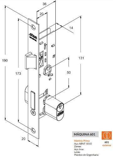 Fechadura Externa Porta de Ferro 20mm 601-602/03 Stam