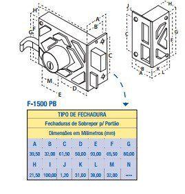 Fechadura De Portão F1500 Preto Fosco Aliança