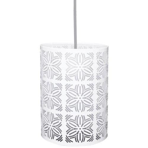 Lustre Luminaria Pendente Renda 104 Branco Fosco Taschibra