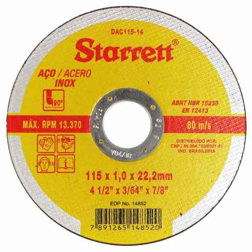 **12 Disco Corte Fino Inox 4.1/2 X 1,0 Esmerilhadeira Starrett