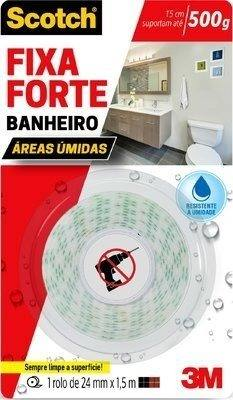 **Kit 2 Fita Dupla Face 3m Fixa Forte Banheiro Úmido 24mmx1,5m