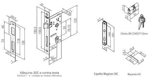 Fechadura Zamac Externa 40mm Concept Esp 403e Cr - Pado