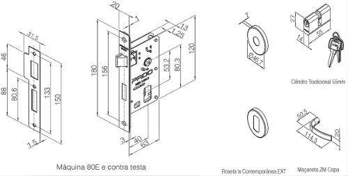 Fechadura Zamac Externa 40mm Copa Ros 962-80e Cr - Pado