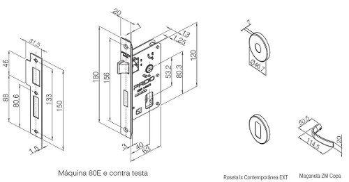 Fechadura Zamac Interna 40mm Copa Ros 962-80i Cr - Pado
