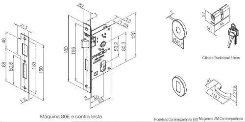 Fechadura Zamac Externa 40mm Contemp Ros 500-80e Cra - Pado