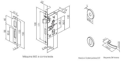 Fechadura Zamac Interna 55mm Contemp Ros 500-90i Cra - Pado
