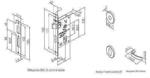 Fechadura Zamac Externa 55mm Contemp Ros 500-90e Cra - Pado