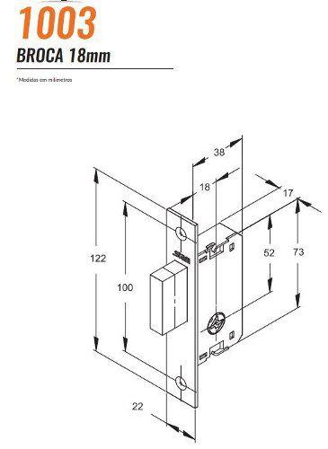 Fechadura Auxiliar 18mm Trava Tetra 1003 Espelho Inox Stam