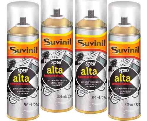 **12 Tinta Spray Alta Temperatura Preto Fosco 300ml Suvinil
