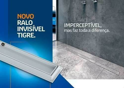 **Kit 02 Ralo Linear Oculto Invisível 70cm Tigre Banheiro