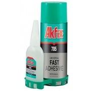 Adesivo Instantâneo Com Primer Ativador 705 AKFIX (125g/ 400ml)