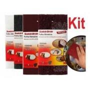 Kit 04 Folha Abrasiva Lixa C/ 2un 110x225mm Schotch Brite 3m