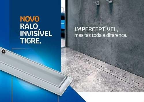 **Kit 03 Ralo Linear Invisível Oculto 50cm Tigre Banheiros