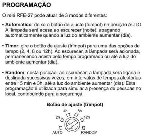 Relé Fotoeletrônico Bocal Soquete E27 Bivolt Rfe27 Margirius