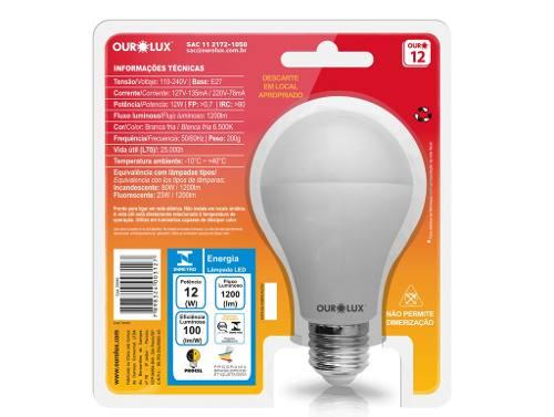 Lampada Led 12w 6500k Fria Bivolt Ourolux