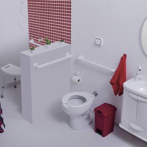 Barra De Apoio Banheiro 30cm Vermelho\ Idoso Deficiente Astra