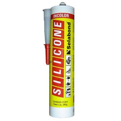 Silicone Incolor 280g Selabond Box, Pias, Ajulejos, Alumínio