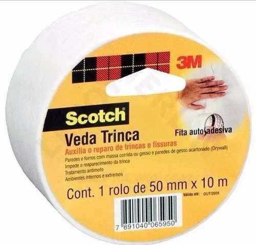 Fita Veda Trinca Scotch 3m Gesso E Parede Rolo 50mmx10m
