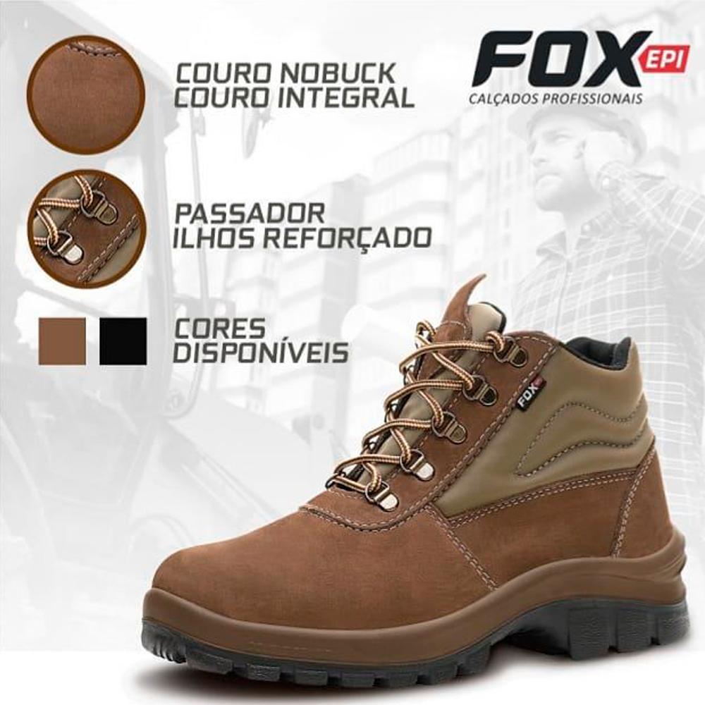 Botina De Segurança Fox Nobuck C/ Bico E Ca Nº 38 Ao 44