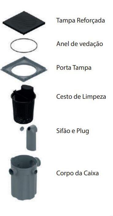 Caixa De Gordura Tigre C/ Cesto De Limpeza Tampa 300mm/dn100