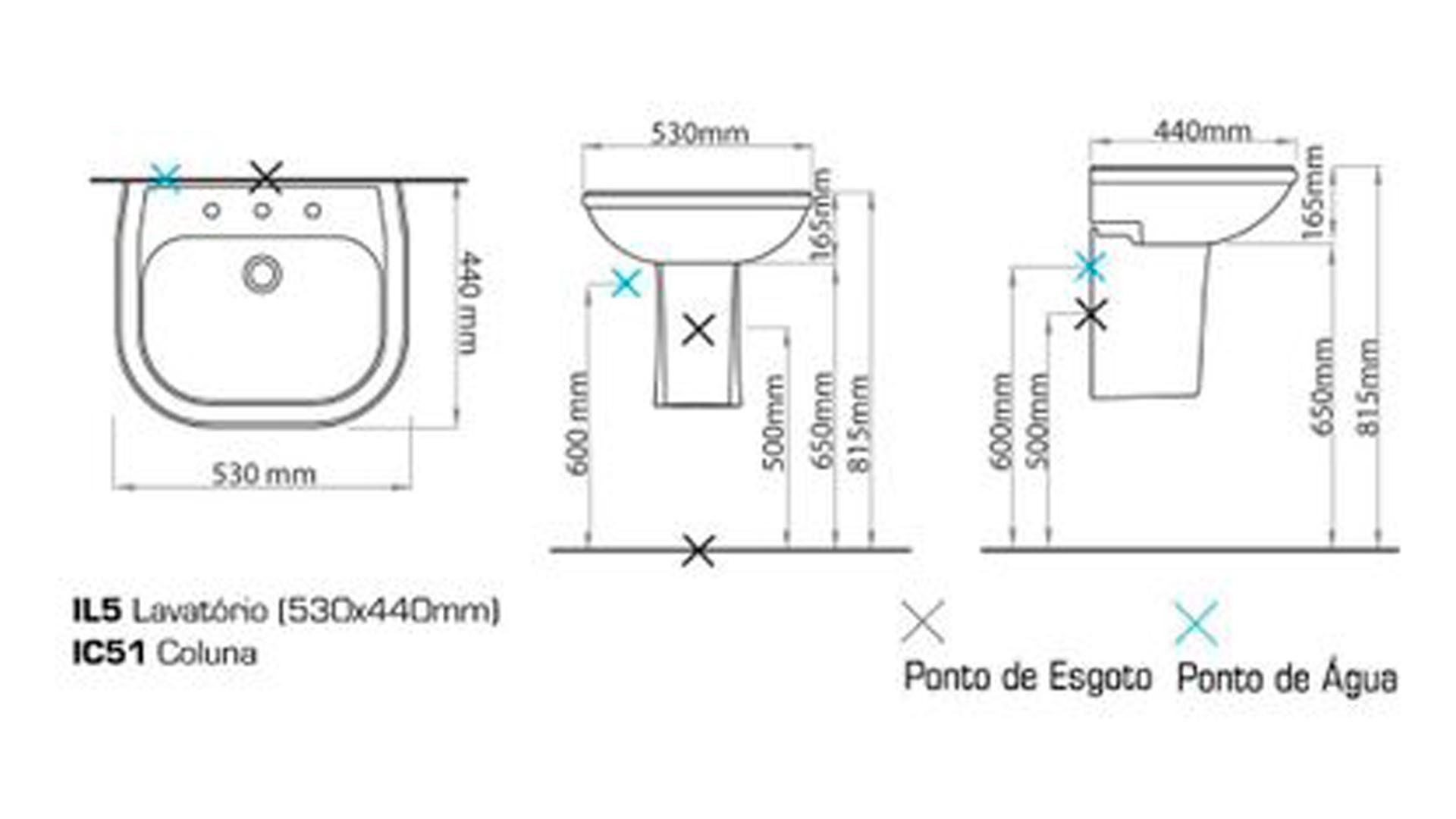 Coluna Suspensa para Lavatório Branca SABATINI