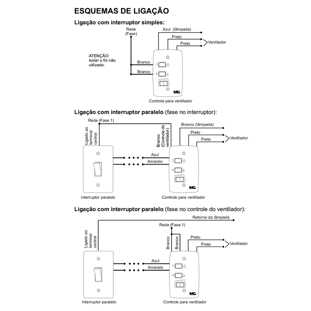 Controle P/ Ventilador De Teto C/ Lâmpada 127V  C/ Capacitor
