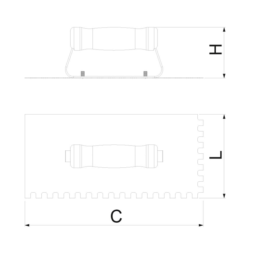 Desempenadeira de Aço Dentada 10 x 10 mm - 38 cm - CORTAG