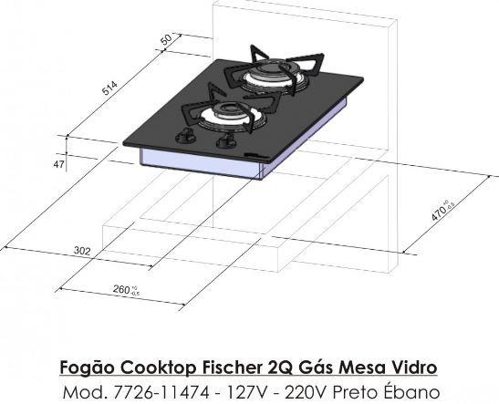 Fogão Cooktop 2Q Fischer 2 Bocas Preto