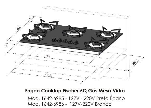 Fogão Cooktop 5Q Fischer Preto