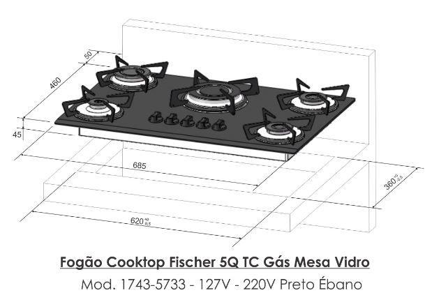 Fogão Cooktop 5Q Tripla Chama Fischer Preto