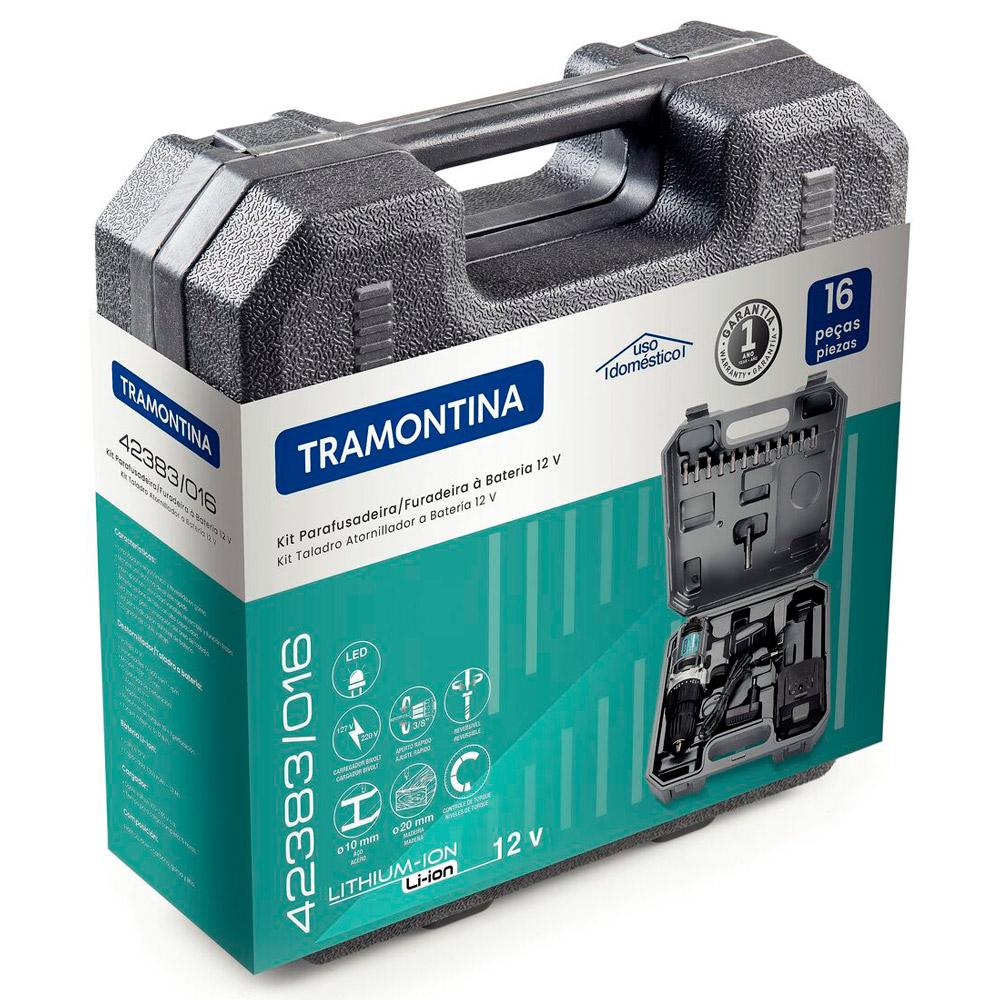 Furadeira e Parafusadeira à Bateria 12V com kit 16 Peças – TRAMONTINA
