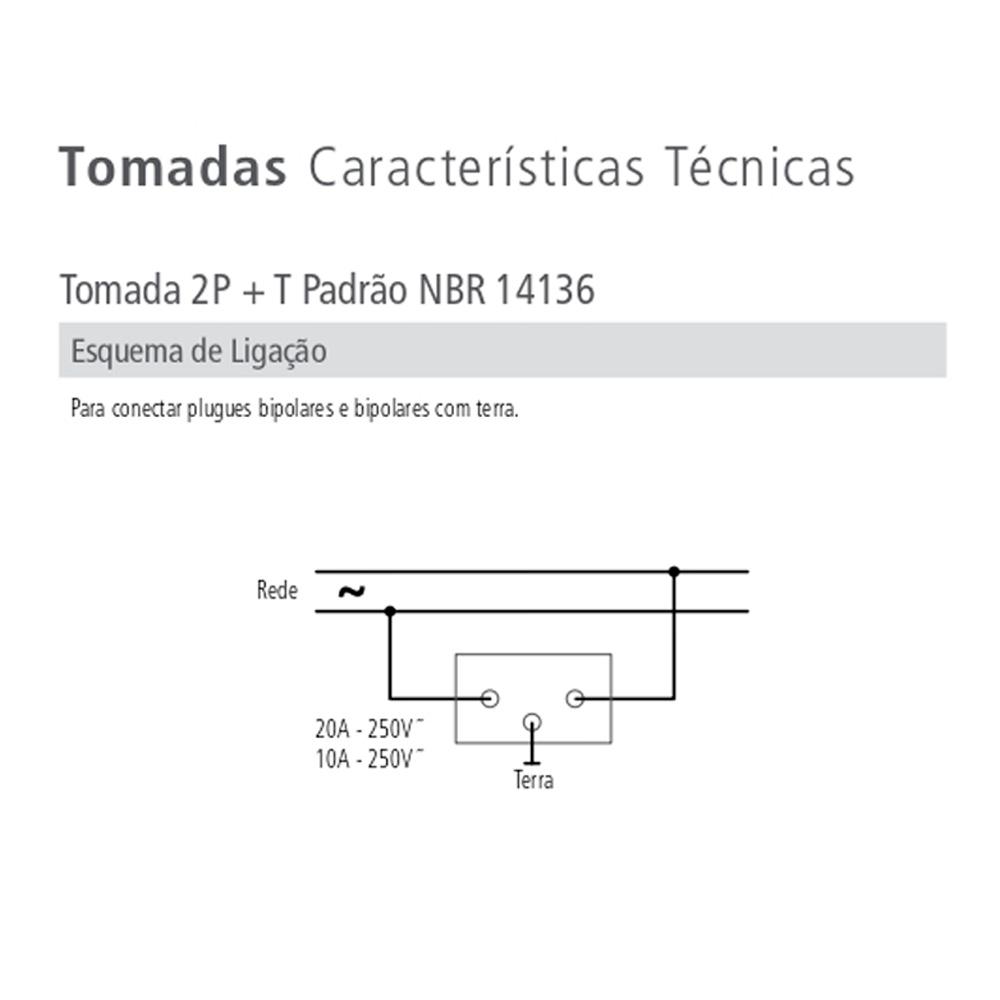 INTERRUPTOR 1 TECLA PARALELO 10A + 1 TOMADA 10A C/PLACA 4X2 LUX TRAMONTINA