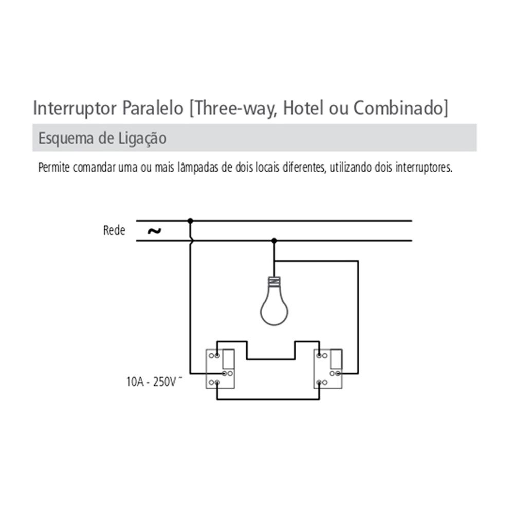 INTERRUPTOR 1 TECLA PARALELO C/PLACA LUX TRAMONTINA
