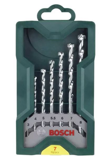 Jogo de Brocas P/ Concreto X-LINE Bosch C/ 7 Peças