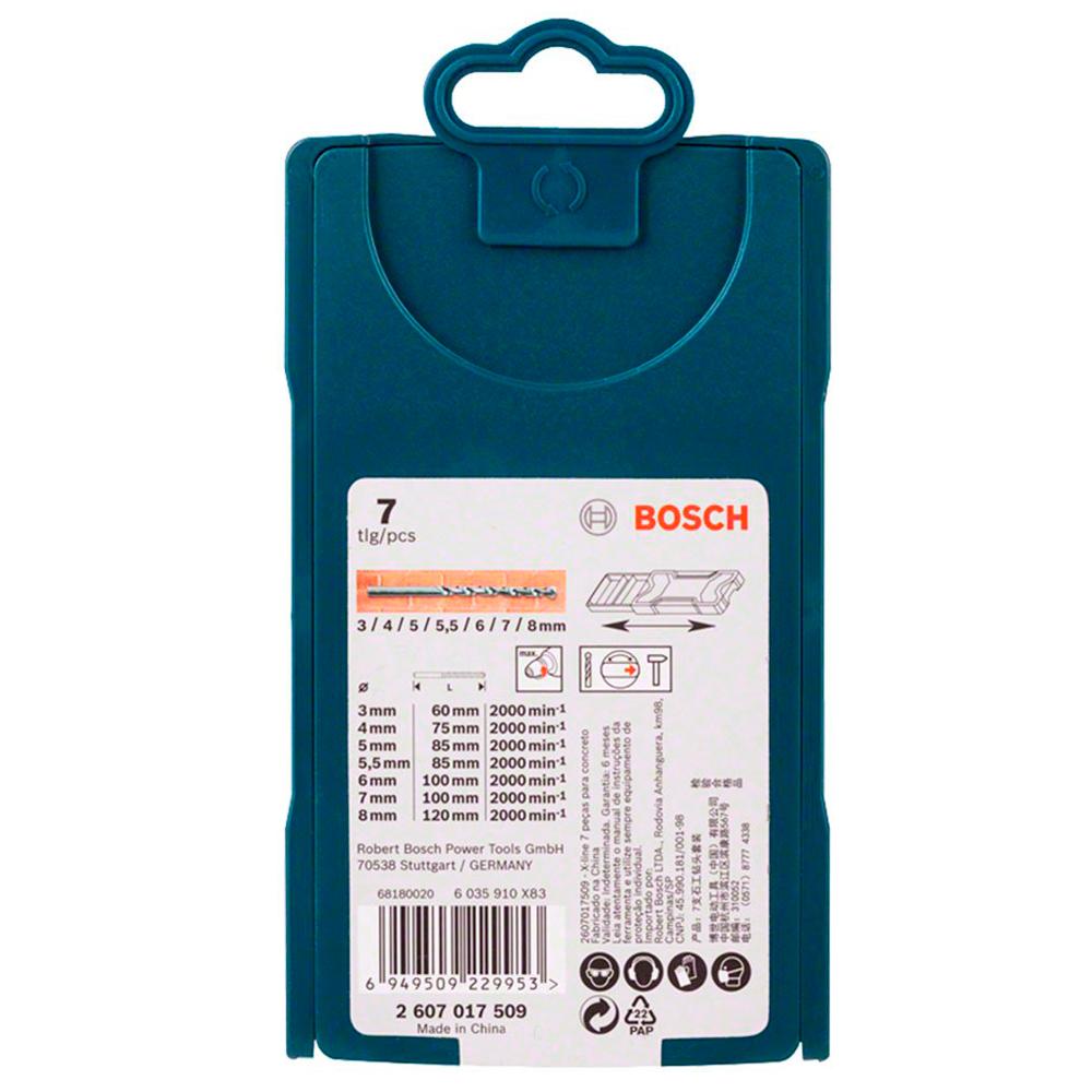 Jogo de Brocas Para Concreto X-LINE Bosch 7 Peças