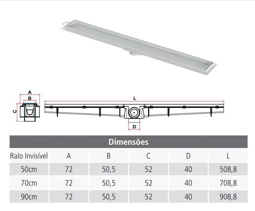 Kit 02 Ralo Linear Invisível 50 cm - Tigre