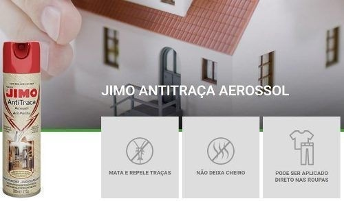 Kit 03 Jimo Antitraça Spray Aerossol 300ml Mata Traça