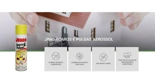 Kit 03 Jimo Mata Ácaros Pulgas E Carrapatos Aerossol 300ml