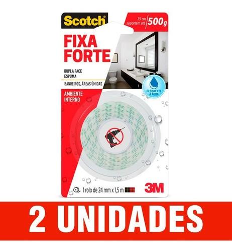 Kit 2 Fita Dupla Face 3m Fixa Forte Banheiro Úmido 24mmx1,5m