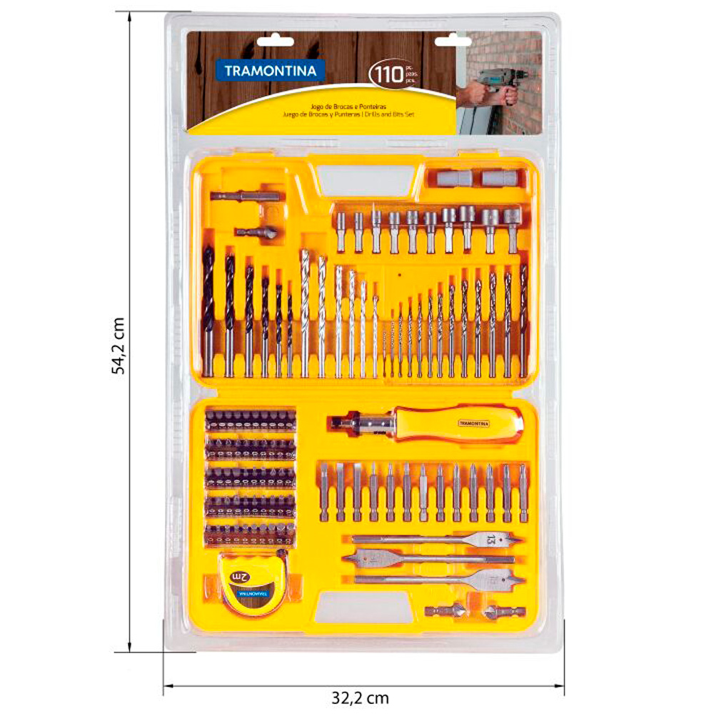 Kit de Brocas e Ponteiras com maleta 110 peças - TRAMONTINA