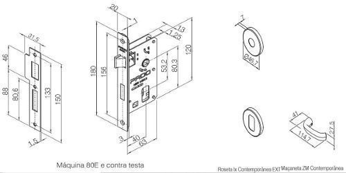 kit Fechadura Zamac Contemp Ros 500-80