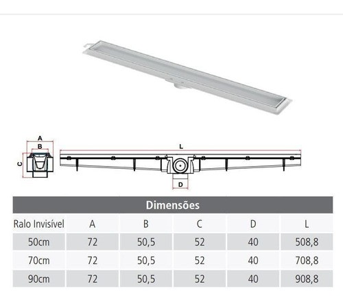 Kit Ralo Linear Invisível 04un 90cm e 02un 70cm Tigre