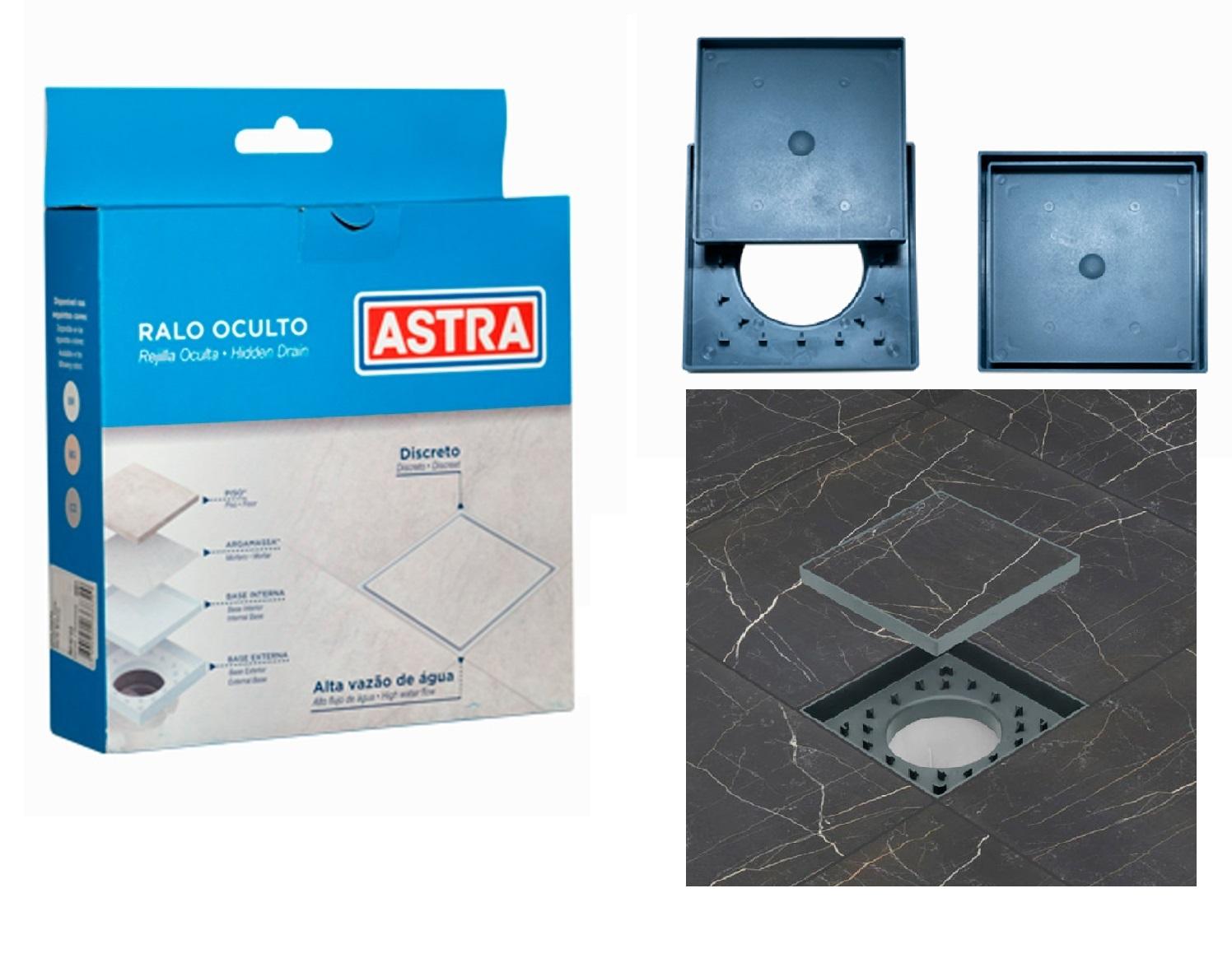 kit Ralo Oculto invisível 15x15 Universal Cinza e Bege Astra